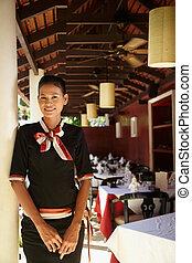 portræt, servitrice, asiat, arbejder, restaurant