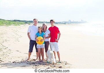 portræt, strand, familie