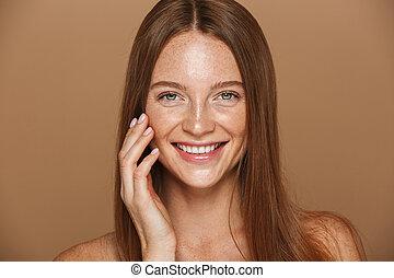 portræt, topløs, kvinde smile, skønhed, unge