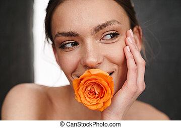 portræt, topløs, smuk kvinde, unge
