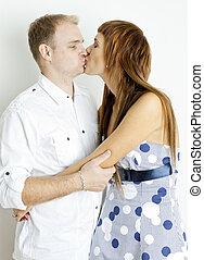 portré, összekapcsol megcsókol