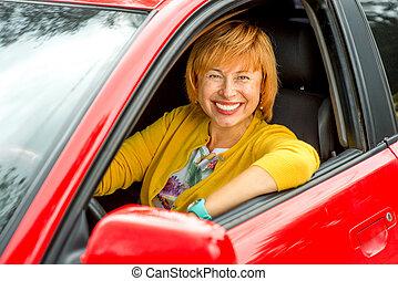 portré, autó woman, vezetés, idősebb