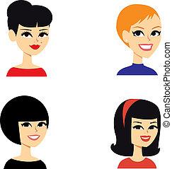 portré, avatar, nők, sorozat