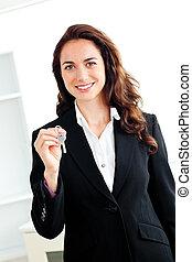 portré, birtok, üzletasszony, kaukázusi, kulcs