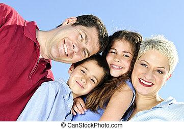 portré, család, boldog