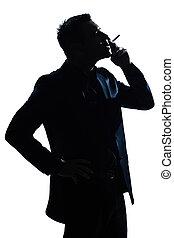 portré, ember, árnykép, dohányzás cigaretta