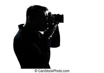 portré, ember, árnykép, fényképész
