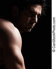 portré, ember, félig meztelen, jelentékeny, macho, szexi