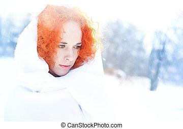 portré, fűt, ice., női, szabadban
