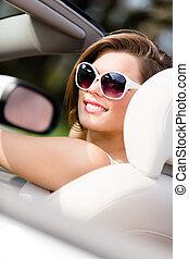 portré, fehér, nő, meglehetősen, autó