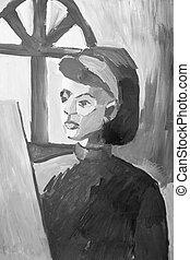 portré, festmény, közül, fiatal lány, alatt, monochrom, colors.