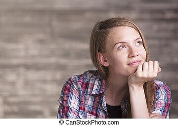 portré, figyelmes, nő