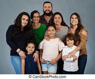 portré, hispanic család, nagy