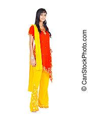 portré, hosszúság, nő, indiai, tele