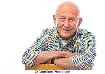 portré, idősebb ember, vidám mosolyog, ember