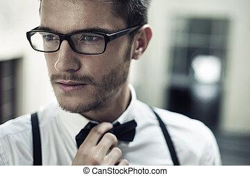 portré, jelentékeny, closeup, ember