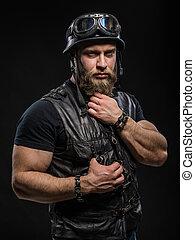 portré, jelentékeny, szakállas, bringás, ember, alatt,...