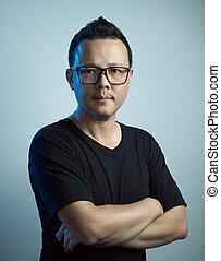 portré, közül, ázsiai, magabiztos, fiatalember