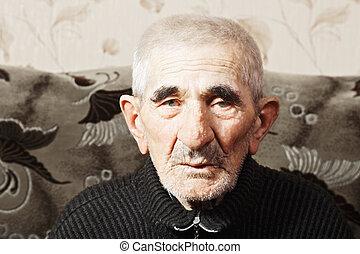 portré, közül, öregedő, senior bábu