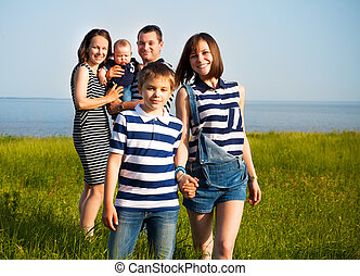 portré, közül, a, család 3 gyermekek