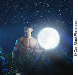 portré, közül, a, fiatal, nude alakít, alatt, a, éjszaka, dzsungel