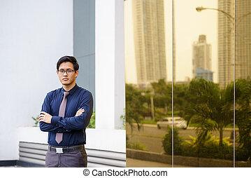 portré, közül, büszke, és, magabiztos, kínai, hivatal munkás