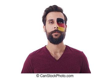 portré, közül, büszke, német, futball, ember