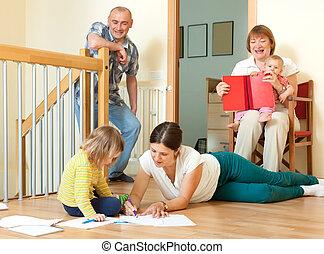 portré, közül, boldog, 3 nemzedék, család, noha, kevés, gyerekek