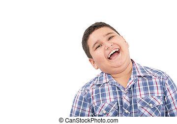 portré, közül, boldog, csinos, kicsi fiú, nevető