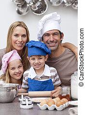 portré, közül, család, sülő, konyhában