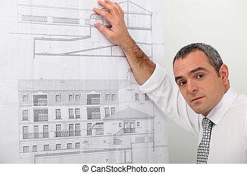 portré, közül, egy, építészmérnök