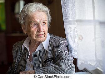 portré, közül, egy, öregedő woman