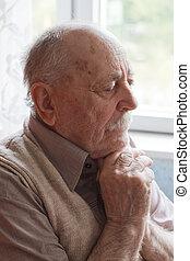 portré, közül, egy, öregember