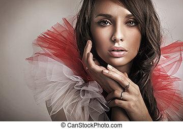 portré, közül, egy, csinos, barna nő