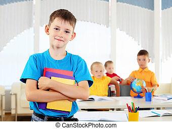 portré, közül, egy, diák, van, osztály