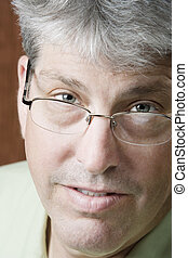 portré, közül, egy, ember, noha, szemüveg