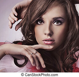 portré, közül, egy, fiatal, barna nő