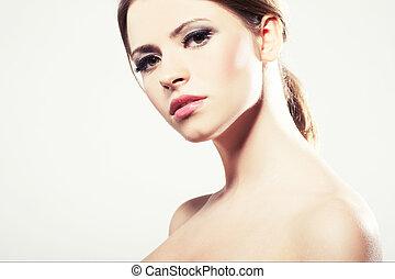 portré, közül, egy, gyönyörű, fiatal, szexi, nő