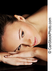 portré, közül, egy, gyönyörű, nude woman, fekvő, képben látható, neki, belly.