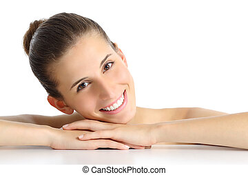 portré, közül, egy, gyönyörű, természetes, nő, arcápolás, noha, egy, fehér, teljes, mosoly
