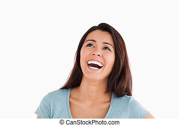 portré, közül, egy, gyönyörű woman, nevető, időz, álló