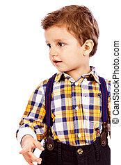 portré, közül, egy, imádnivaló, kicsi fiú, elszigetelt
