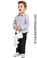 portré, közül, egy, imádnivaló, kicsi fiú, játék, noha, övé, játékszer, hord