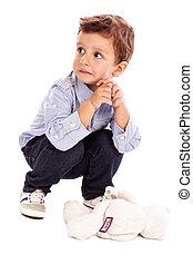 portré, közül, egy, imádnivaló, kicsi fiú, külső