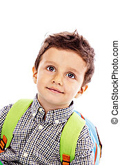 portré, közül, egy, imádnivaló, kicsi fiú, noha, hátizsák