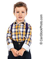 portré, közül, egy, imádnivaló, kicsi fiú