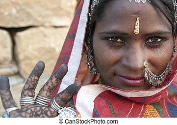 portré, közül, egy, india, rajasthani, nő