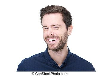 portré, közül, egy, jókedvű, fiatalember, mosolygós