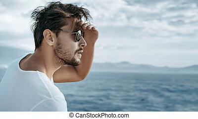 portré, közül, egy, jelentékeny, ember, őrzés, óceán lenget