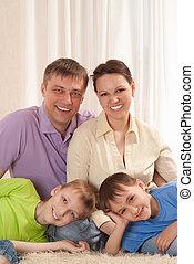 portré, közül, egy, kedves, család